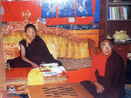 H.H. and Lama Lodu at Tsurphu, Tibet